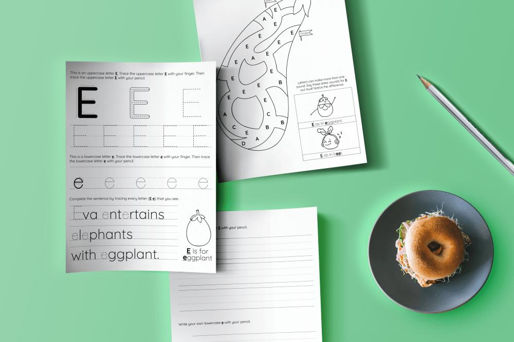 alphabet workbook activity pages letter e